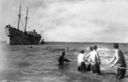 """אוניית מעפילים מגיעה לחוף א""""י (תצלום: ארכיון ההגנה)"""