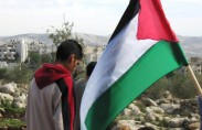 Kids with a Palestinian flag